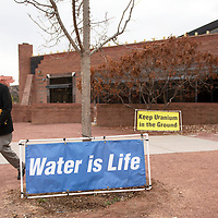 Banners outside the Navajo Nation Museum in Window Rock, Thursday, Nov. 29 on the first day of the International Uranium Film Festival.
