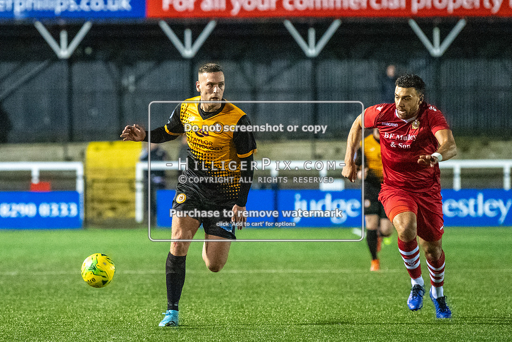 BROMLEY, UK - JANUARY 15: Joseph Taylor,  of Cray Wanderers FC, looks for a pass during the BetVictor Isthmian Premier League match between Cray Wanderers and Hornchurch at Hayes Lane on January 15, 2020 in Bromley, UK. <br /> (Photo: Jon Hilliger)