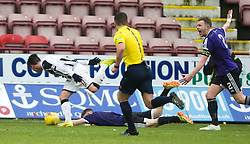 Dunfermline's Joe Cardle brings down Ayr United's Alan Forest for their penalty. <br /> Dunfermline 3 v 2 Ayr United, Scottish League One played at East End Park, 13/2/2016.