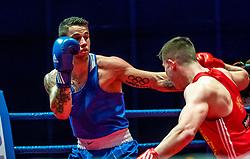 07.04.2018, Erste Bank Arena, Wien, AUT, Bounce Fight Night, Olympisches Boxen Elite, 81 kg, Umar Dzambekov (AUT) vs Blagoy Naydenov (BUL), im Bild Blagoy Naydenov (BUL), Umar Dzambekov (AUT) // during the Olympic Boxing Round, 91kg with the fight between Umar Dzambekov of Austria and Blagoy Naydenov of Bulgaria of the Bounce Fight Night at the Erste Bank Arena, Vienna, Austria on 2018/04/07. EXPA/ Sebastian Pucher