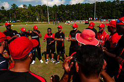 September 22, 2018 - Morrisville, North Carolina, US - Sept. 22, 2018 - Morrisville N.C., USA - Team Canada huddles before their ICC World T20 America's ''A'' Qualifier cricket match with Team USA. Both teams played to a 140/8 tie with Canada winning the Super Over for the overall win. In addition to USA and Canada, the ICC World T20 America's ''A'' Qualifier also features Belize and Panama in the six-day tournament that ends Sept. 26. (Credit Image: © Timothy L. Hale/ZUMA Wire)