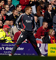 Photo: Jed Wee/Sportsbeat Images.<br /> Liverpool v Arsenal. The Barclays Premiership. 31/03/2007.<br /> <br /> Liverpool's John Arne Riise, in the news this week after being declared bankrupt, warms up before coming on as a substitute.