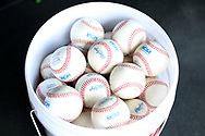 WINSTON-SALEM, NC - JUNE 02: A bucket of NCAA tournament baseballs. The Wake Forest Demon Deacons hosted the University of Maryland Baltimore County Retrievers on June 2, 2017, at David F. Couch Ballpark in Winston-Salem, NC in NCAA Division I College Baseball Tournament Winston-Salem Regional Game 2. Wake Forest won the game 11-3.