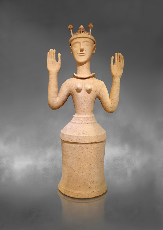 """Minoan Postpalatial terracotta  """"Poppy goddess: statue with raised arms and poppy seed crown,  Karphi Sanctuary 1300-1200 BC, Heraklion Archaeological Museum, grey background. <br /> <br /> The """"Poppy Goddess"""" statuye is crowned with opium poppy seed heads. As opium is a hallucinogen that also sedates and has healing properties, experts assume this was the goddess of pain relief and healing/ During this period both Minoan and Mycenaean graves were found in Karphi snctuary so these cult gods are attributable to both cultures .<br /> <br /> If you prefer to buy from our ALAMY PHOTO LIBRARY  Collection visit : https://www.alamy.com/portfolio/paul-williams-funkystock/minoan-art-artefacts.html . Type -   Heraklion   - into the LOWER SEARCH WITHIN GALLERY box. Refine search by adding background colour, place, museum etc<br /> <br /> Visit our MINOAN ART PHOTO COLLECTIONS for more photos to download  as wall art prints https://funkystock.photoshelter.com/gallery-collection/Ancient-Minoans-Art-Artefacts-Antiquities-Historic-Places-Pictures-Images-of/C0000ricT2SU_M9w"""