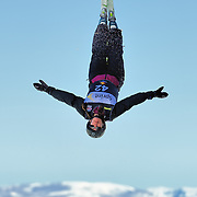 Katie Sciuto (Park City, UT) performs aerial acrobatics during the 2009 Sprint US Freestyle Championships held at the Utah Olympic Park in Park City on March 8, 2009. Sciuto scored 107.95 points on the day which was good enough for 8th place overall.