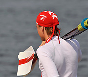 Marathon, GREECE,   Danish M4X, and coach, at the FISA European Rowing Championships.  Lake Schinias Rowing Course, 19 19/09/2008  [Mandatory Credit Peter Spurrier/ Intersport Images] , Rowing Course; Lake Schinias Olympic Rowing Course. GREECE