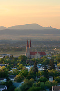 St. Helena Cathedral agaisnt the backdrop of Sleeping Giant Mountain, Helena, Montana.