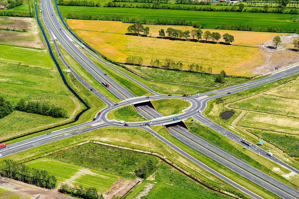 Nederland, Friesland, Centrale As, 07-05-2018; provinciale weg 356 (N356), Sintrale As of de Centrale As, tussen Nijega en Dokkum.<br /> Lokatie ter hoogte van Hurdegaryp (Hardegarijp), verkeersplein. <br /> New local motorway Friesland, junction.<br /> luchtfoto (toeslag op standaard tarieven);<br /> aerial photo (additional fee required);<br /> copyright foto/photo Siebe Swart