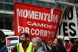 © Licensed to London News Pictures. 04/09/2018. LONDON, UK. A pro-Corbyn banners is held aloft by demonstrators from the Jewish Voice for Labour gathered outside Labour HQ in central London as members of Labour National Executive Committee discuss the party's code of conduct on anti-semitism.  Photo credit: Stephen Chung/LNP