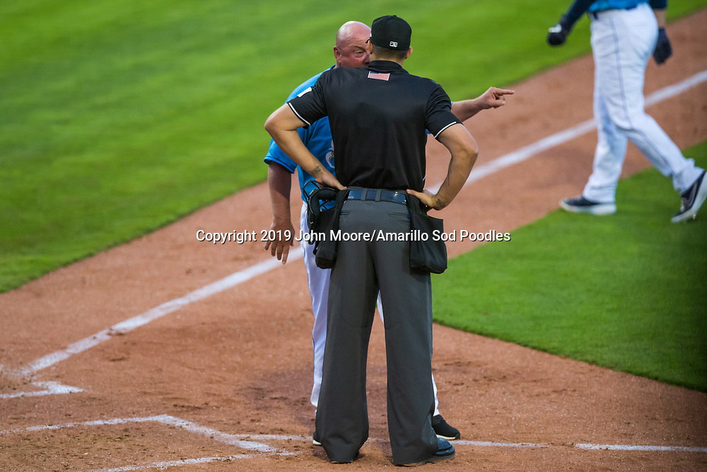 Amarillo Sod Poodles Manager Phillip Wellman is ejected for arguing with the umpire against the Midland RockHounds on Wednesday, Aug. 14, 2019, at HODGETOWN in Amarillo, Texas. [Photo by John Moore/Amarillo Sod Poodles]