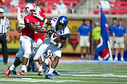 DALLAS, TX - OCTOBER 25:  Tevin Jones #87 of the Memphis Tigers is brought down by Kevin Pope #3 of the SMU Mustangs during the 1st quarter on October 25, 2014 at Gerald J. Ford Stadium in Dallas, Texas.  (Photo by Cooper Neill/Getty Images) *** Local Caption *** Tevin Jones; Kevin Pope