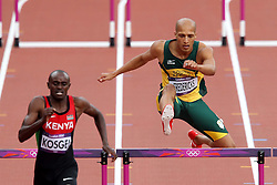 Cornel Fredericks of South Africa trails Vincent Kosgei of Kenya in round 1 of the Men's 400m Hurdles during day 1 of athletics held at the Olympic Stadium in Olympic Park in London as part of the London 2012 Olympics on the 3rd August 2012..Photo by Ron Gaunt/SPORTZPICS
