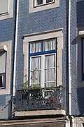 house tiled in blue bairro alto lisbon portugal