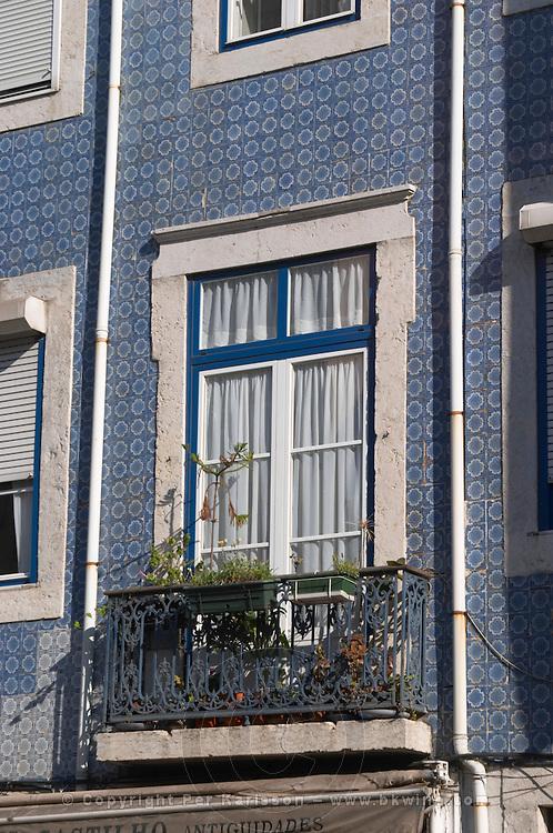 house tiled in blue bairro alto lisbon portugal
