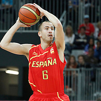 31 July 2012: Spain Sergio Rodriguez during the first half of Spain vs Australia, during the men's basketball preliminary, at the Basketball Arena, in London, Great Britain.
