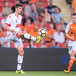 BRISBANE, AUSTRALIA - OCTOBER 13: George Blackwood of Adelaide controls the ball during the Round 2 Hyundai A-League match between Brisbane Roar and Adelaide United on October 13, 2017 in Brisbane, Australia. (Photo by Patrick Kearney)
