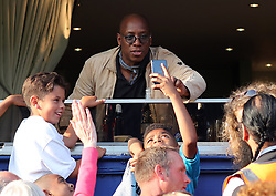 2 September 2017 - Charity Football - Game 4 Grenfell - Ian Wright takes a selfie with a young fan - Photo: Charlotte Wilson