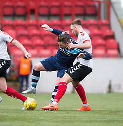 Forfar Athletic's David Cox and Clyde's Martin McNiff. half time : Clyde 0 v 1 Forfar Athletic, Scottish League Two game played 4/3/2017 at Clyde's home ground, Broadwood Stadium, Cumbernauld.