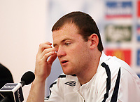 Photo: Chris Ratcliffe.<br />England Press Conference. FIFA World Cup 2006. 28/06/2006.<br />Wayne Rooney addresses the media.