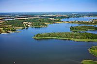 France, Indre (36), le Berry, parc naturel régional de la Brenne, la Gabrière, vue aérienne  des étangs // France, Indre (36), le Berry, Brenne, natural park, aerial view of the ponds, Migné