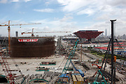 A view of the main 2010 World Expo site under construction in Shanghai, China on 13 July 2009. The World Expo drew in over 70 million visitors during its six months duration.