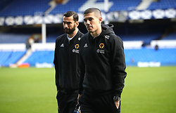 Wolverhampton Wanderers' Conor Coady (right) inspects the pitch prior to the match