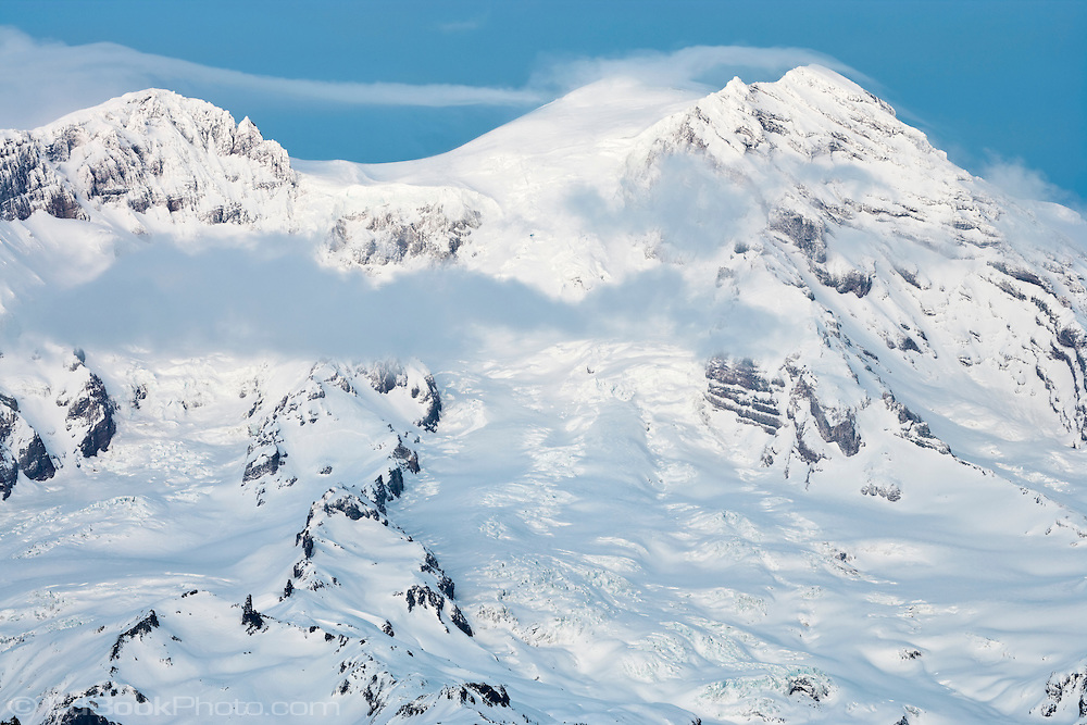The three summits of Mount Rainier in winter (Liberty Cap, Columbia Crest, Point Success) including Sunset Amphitheater, Puyallup Glacier, St Andrews Rock, Tahoma Glacier, South Tahoma Glacier, and the South Tahoma Glacier Headwall. Viewed from the SW. Mount Rainier National Park, WA, USA