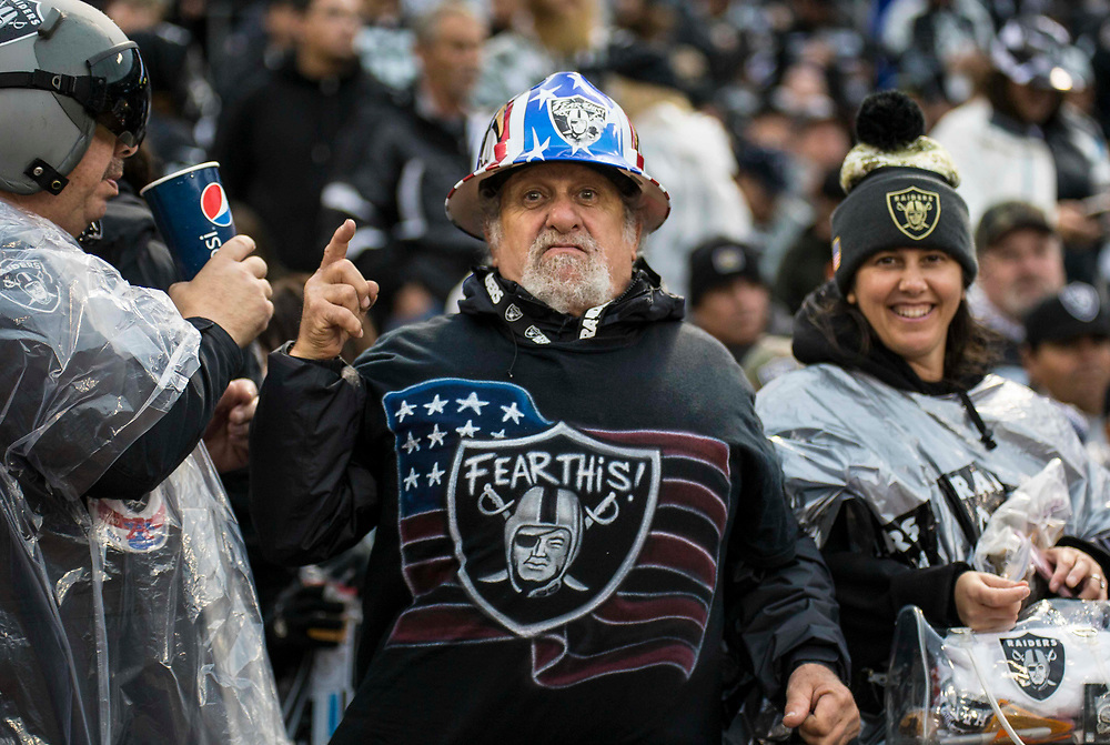 Nov 26 2017  Oakland CA, U.S.A  Oakland Raiders fans during the NFL football game between Denver Broncos and the Oakland Raiders 21-14 win at O.co Coliseum Stadium Oakland Calif. Thurman James / CSM