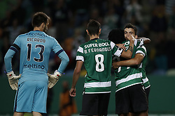 October 22, 2017 - Lisbon, Portugal - Sporting's midfielder Marcos Acuna (R) celebrates his goal with Sporting's forward Gelson Martins (2nd R) and Sporting's midfielder Bruno Fernandes (C)  during Primeira Liga 2017/18 match between Sporting CP vs GD Chaves, in Lisbon, on October 22, 2017. (Credit Image: © Carlos Palma/NurPhoto via ZUMA Press)
