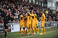 Newport County players celebrate the 1st goal scored by Danny Crow's (9)  during the Skybet football league two match, Newport county v Chesterfield at Rodney Parade in Newport, South Wales on Sunday 1st Dec 2013. pic by Jeff Thomas, Andrew Orchard sports photography,