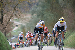 Emma Johansson and Anna van der Breggen go wheeel up wheel up the double digit gradient, gravel roads - 2016 Strade Bianche - Elite Women, a 121km road race from Siena to Piazza del Campo on March 5, 2016 in Tuscany, Italy.
