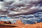 Windy cloudy day at  Monument Valley Navajo Tribal Park, National Park, Utah.