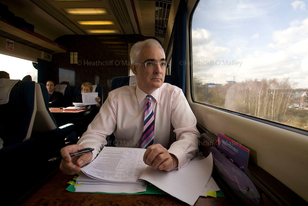 May0011550 . Daily Telegraph..Chancellor of the Exchequer Alistair Darling photographed whilst returning from a visit to Reading for a regional economic meeting...Reading 2 March 2009