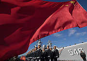 Arnold Lim/Black Press<br /> The flag of China waves in the breeze of Ogden Point where three ships from China's People's Liberation Army arrived in Victoria as part of a scheduled port visit. B.C. December 15, 2016.