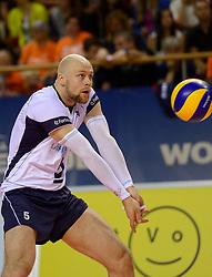 20150613 NED: World League Nederland - Finland, Almere<br /> De Nederlandse volleyballers hebben hun vierde zege in vijf World League-duels geboekt. Zes dagen na de pijnlijke 0-3 tegen België, werd in Almere Finland met 3-0 (25-20, 25-14, 25-18) verslagen / Antti Siltala #5