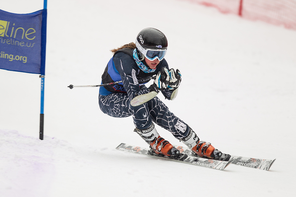 Yina Moe-Lange of Middlebury College, skis during the second run of the women's giant slalom at Jiminy Peak on February 15, 2014 in Hancock, MA. (Dustin Satloff/EISA)
