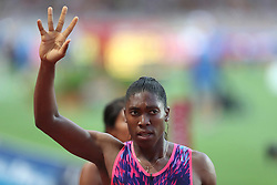 July 21, 2017 - Monaco, Monaco - Caster Semenya of South Africa celebrates as she crosses the finish line during the 800m of the IAAF Diamond League Herculis meeting at the Stade Louis II in Monaco on July 17, 2017. (Credit Image: © Manuel Blondeau via ZUMA Wire)