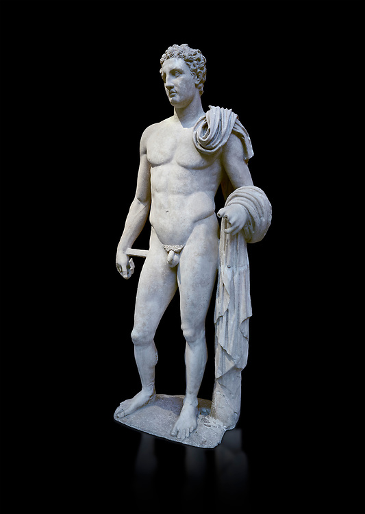 The 'Atalante Hermes' Roman marble statue found at Atalante. 2nd Cemt AD copy of the 4th cent BC Lysippean Greek style. Athens Archaeological Museum, cat no 240. Against black<br /> <br /> Funserary statue of a youth depicted as Hermes. He is shown nude with his chlamys over his shoulder and wound around his right arm. In his left hand he holds a 'caduceus'. .<br /> <br /> If you prefer to buy from our ALAMY STOCK LIBRARY page at https://www.alamy.com/portfolio/paul-williams-funkystock/greco-roman-sculptures.html . Type -    Athens    - into LOWER SEARCH WITHIN GALLERY box - Refine search by adding a subject, place, background colour, etc.<br /> <br /> Visit our ROMAN WORLD PHOTO COLLECTIONS for more photos to download or buy as wall art prints https://funkystock.photoshelter.com/gallery-collection/The-Romans-Art-Artefacts-Antiquities-Historic-Sites-Pictures-Images/C0000r2uLJJo9_s0