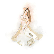 Digitally enhanced image of a Tribal style Belly dancer On white Background
