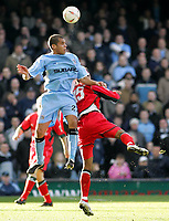 Photo: Paul Thomas. Coventry City v Cardiff City, Highfield Road, Coventry,  Coca Cola Chamionship. 12/03/2005. Marcus Hall climbs above Richard Langley.