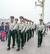 China, Beijing, Tiananmen Square is located in the heart of Beijing, at the entrance to the Forbidden city Chinese soldiers marching