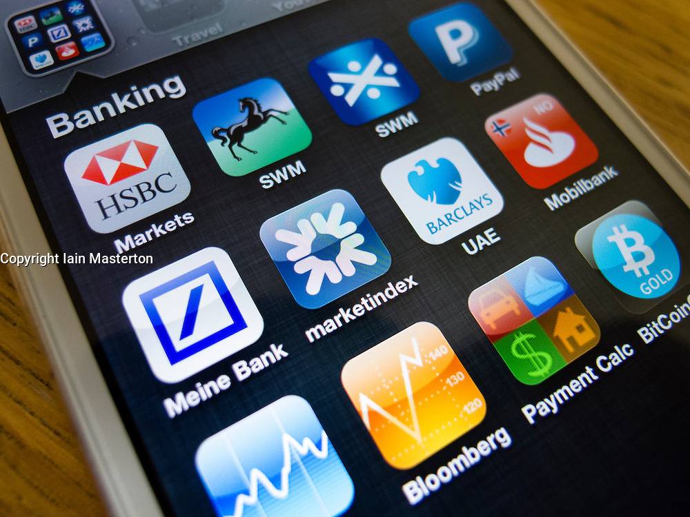 Many banking apps on home screen of iPhone 5 smartphone