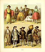 Ancient Spanish fashion and lifestyle, 18th century from Geschichte des kostums in chronologischer entwicklung (History of the costume in chronological development) by Racinet, A. (Auguste), 1825-1893. and Rosenberg, Adolf, 1850-1906, Volume 5 printed in Berlin in 1888