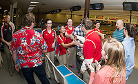 """The LHS Bowlers take on LHS Faculty at Funspot Thursday afternoon and come away with """"bragging rights"""" in a closely contested final Baker Match.  (l-r) Coach Batchelder, Zina LaBrie, Lily Chanthasak, Samantha Batchelder, Peter Stivali and Cheyenne Noyes shake hands with (l-r) Mr. Campbell, Mr. Chase, Mrs. Roberts, Miss Ward and Mr. Schoffield.   (Karen Bobotas/for the Laconia Daily Sun)"""