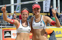 16-07-2014 NED: FIVB Grand Slam Beach Volleybal, Apeldoorn<br /> Poule fase groep G vrouwen - Tanja Goricanec and Tanja Hüberli SUI