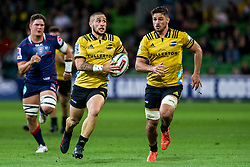 March 30, 2018 - Melbourne, VIC, U.S. - MELBOURNE, AUSTRALIA - MARCH 30 : Gareth Evans of the Wellington Hurricanes  runs with the ball during Round 7 of the Super Rugby Series between the Melbourne Rebels and the Wellington Hurricanes on March 30, 2018, at AAMI Park in Melbourne, Australia. (Photo by Jason Heidrich/Icon Sportswire) (Credit Image: © Jason Heidrich/Icon SMI via ZUMA Press)