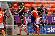 Wimbledon defender Ben Purrington (3), on loan from Rotherham United, clears with his head during the EFL Sky Bet League 1 match between Blackpool and AFC Wimbledon at Bloomfield Road, Blackpool, England on 20 October 2018.