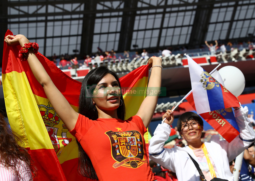 July 1, 2018 - Moscow, Russia - Round of 16 Russia v Spain - FIFA World Cup Russia 2018.Spain supporter at Luzhniki Stadium in Moscow, Russia on July 1, 2018. (Credit Image: © Matteo Ciambelli/NurPhoto via ZUMA Press)