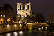 Cathedral Notre Dame de Paris on Île de la Cité by the river Seine, Paris, France