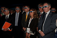Confindustria Delegation headed by Marcegaglia and minister Sacconi e deputy minister Urso visiting the Italian Pavillon in Shanghai Expo 2010 / during a 3d video show / For the Italian Trade Commission